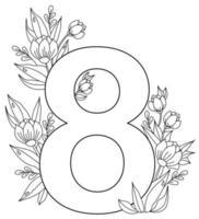 8 marzo biglietto di auguri per la giornata internazionale della donna. numero otto, un mazzo di fiori, boccioli e foglie con gocce di rugiada. vettore. ornamento, linea nera, contorno. per la stampa, l'arredamento e il design vettore