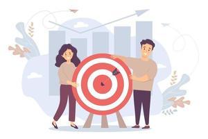 vettore. un uomo e una donna vicino a un bersaglio con una freccia al centro. sfondo e infografiche, colonne e frecce di crescita verso l'alto. obiettivo del concetto, cooperazione, risultato e successo, raggiungimento dell'obiettivo. vettore