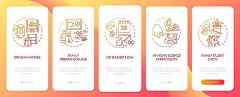 idee divertenti per la famiglia onboarding schermata della pagina dell'app mobile con concetti vettore