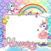 banner bianco con simpatico personaggio dei cartoni animati di unicorno vettore