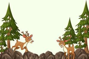 personaggio dei cartoni animati di cervo con scena di foresta vuota vettore