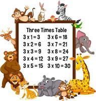 tabellina del tre con animali selvatici vettore