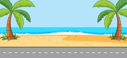 scena vuota con paesaggio spiaggia e lunga strada vettore