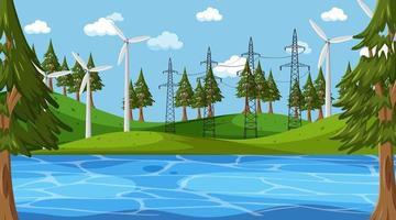 scena del paesaggio del parco naturale vuoto con turbina eolica vettore