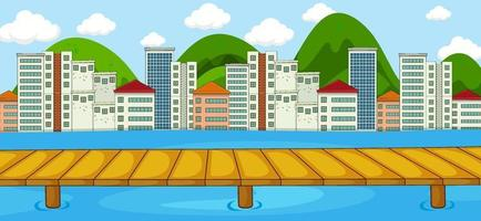 scena orizzontale con sfondo fiume e paesaggio urbano vettore