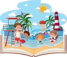 libro aperto con bambini felici sulla spiaggia vettore