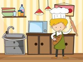 uomo panettiere nella scena della cucina con attrezzature vettore
