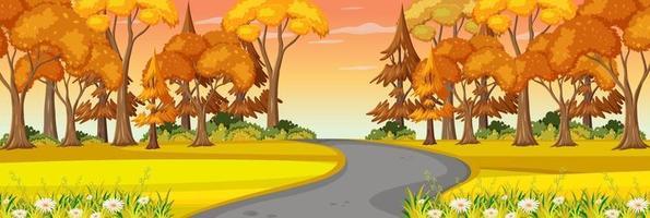 strada attraverso la scena del paesaggio orizzontale del parco vettore