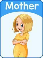 carta di parola inglese educativa della madre vettore