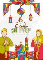 illustrazione disegnata a mano di ramadan kareem con ornamento islamico colorato vettore
