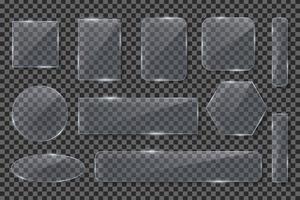 collezione di cornici in vetro trasparente realistico vettore
