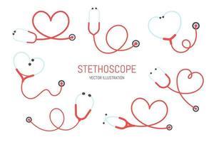 set stetoscopio rosso vettore