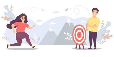 la donna corre verso il suo obiettivo, il movimento e la motivazione sulla strada per l'apice del successo. uomo in attesa vicino al bersaglio. vettore per attività, obiettivi, risultati, affari, marketing e concetto di business