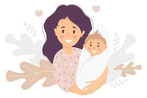 maternità. donna felice con un neonato in braccio. sullo sfondo motivo decorativo di foglie e piante tropicali. illustrazione vettoriale. famiglia felice - mamma e bambino felici. illustrazione piatta vettore