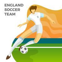Il calciatore minimalista moderno dell'Inghilterra per la coppa del Mondo 2018 gocciola una palla con l'illustrazione di vettore del fondo di pendenza