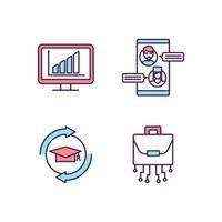 set di icone di colore rgb di trasformazione digitale vettore