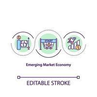 icona del concetto di economia di mercato emergente vettore