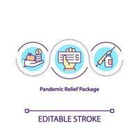 pandemia di sollievo pacchetto concetto icona vettore