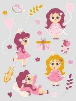 un set di simpatici adesivi con una principessa bambina con un palloncino e un unicorno e un gatto, fiori e rami, una scatola con un regalo. illustrazione vettoriale. isolato. collezione girly per bambini vettore