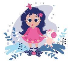 Principessa bambina carina giocosa con la lingua fuori e un unicorno giocattolo in mano su uno sfondo viola con foglie e fiori decorativi. illustrazione vettoriale. collezione per bambini vettore