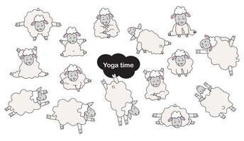 animali domestici di yoga. simpatici atleti di pecore divertenti si alzano in un asana e sono impegnati in fitness, ginnastica e meditazione, un hobby. pecore yoga - una serie di immagini piatte a colori. vettore. isolato su sfondo bianco vettore