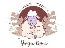 tempo di yoga per animali domestici. un simpatico agnello è impegnato nello yoga seduto in un asana. stile di vita e hobby a casa. animali da fattoria yoga - pecore divertenti su uno sfondo decorativo con foglie tropicali. vettore. isolato vettore