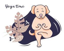 animali domestici di yoga. un simpatico cane, si alza e si allunga in un asana e medita. vettore. illustrazione su sfondo con decorazioni e foglie tropicali. tempo di yoga. progettazione di cartoline, pubblicità, stile di vita sano vettore