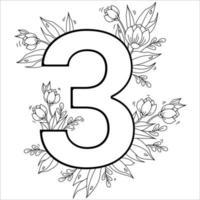 fiore numero tre. motivo decorativo 3 con fiori, tulipani, boccioli e foglie. illustrazione vettoriale isolato su sfondo bianco. linea, contorno. per biglietti di auguri, stampa, design e decorazione