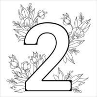fiore numero due. motivo decorativo 2 con fiori, tulipani, boccioli e foglie. illustrazione vettoriale isolato su sfondo bianco. linea, contorno. per biglietti di auguri, stampa, design e decorazione