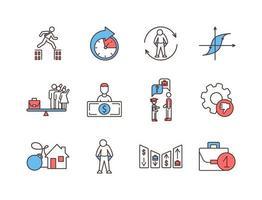 set di icone di colore rgb di disoccupazione vettore