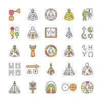 set di icone di colore rgb disegno umano vettore