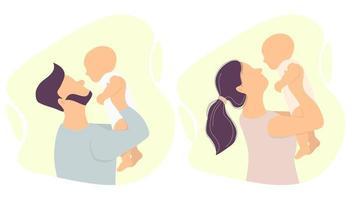 genitori felici con un bambino. uomo e donna che tengono figlio e figlia appena nati. illustrazione vettoriale. impostato. illustrazione piatta vettore
