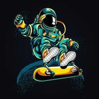 illustrazione del materiale illustrativo dello skateboard dell'astronauta vettore