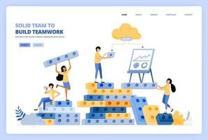 solido lavoro di squadra nella costruzione di relazioni. brainstorming per costruire il successo. il concetto di illustrazione vettoriale può essere utilizzato per la pagina di destinazione, modello, ui ux, web, app mobile, poster pubblicitari, banner, sito Web, volantino