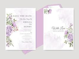bellissimo matrimonio floreale disegnato a mano salva il modello di carta di invito data vettore