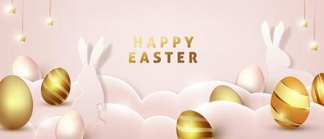 modello di sfondo di Pasqua con uova d'oro premium di lusso. vettore