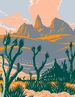 Castle Mountains National Monument situato nel deserto del Mojave e nella contea di san bernardino, california, poster wpa vettore