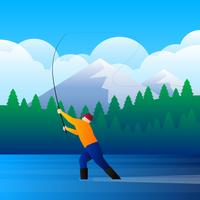 Pesca con la mosca nell'illustrazione del flusso di montagna vettore