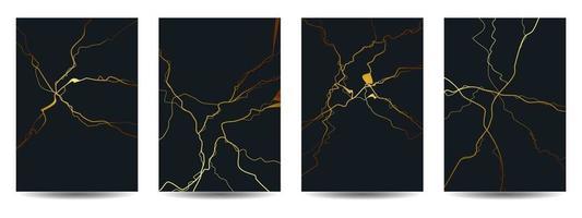 fondo di progettazione della copertina del kintsugi dell'oro vettore
