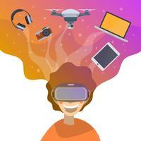 L'uomo piano si innamora con tecnologia e la sua illustrazione di vettore del fondo di immaginazione