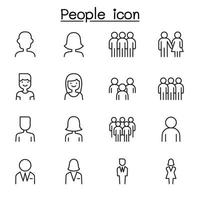 icona della gente impostata in stile linea sottile vettore