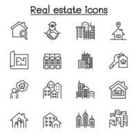 set di icone di linea del vettore relative al settore immobiliare.