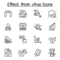 effetto dall'icona del virus impostata in stile linea sottile vettore