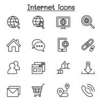 icona del browser Internet impostata in stile linea sottile vettore