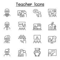 icone dell'insegnante impostate in stile linea sottile vettore