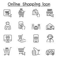 icone dello shopping online impostate in stile linea sottile vettore
