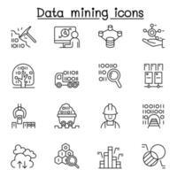 data mining, big data, icona del data warehouse impostata in stile linea sottile vettore