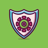 protezione virus icona illustrazione vettoriale. stile cartone animato piatto adatto per pagina di destinazione web, banner, adesivo, sfondo. vettore