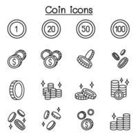moneta, icona dei soldi impostata in stile linea sottile vettore