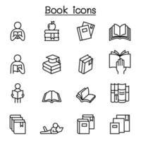 icona del libro impostata in stile linea sottile vettore